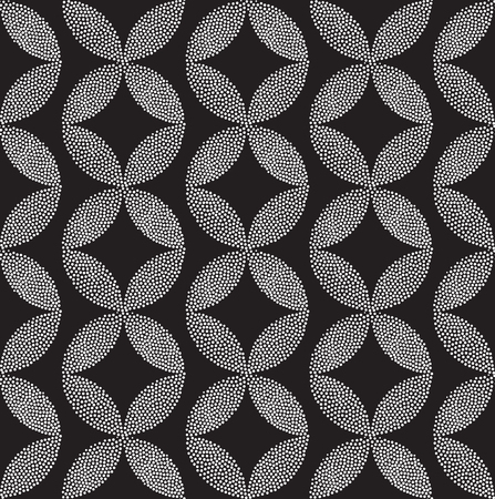 pointillism: Vector geometric classic seamless pattern. Repeating abstract circles rhombus gradation in black and white. Modern halftone circle design, pointillism