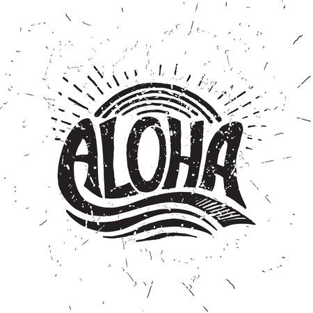 Aloha surfing lettering. Vector calligraphy illustration. Hawaiian handmade tropical exotic t-shirt graphics. Summer apparel print design. Retro drawn sea wave, sun, spray, vintage texture