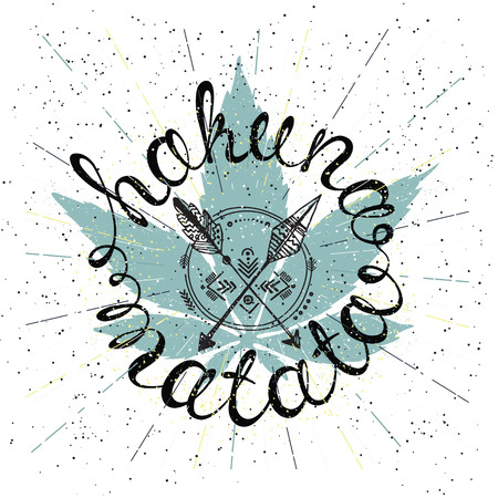 Hakuna matata, lettering, native american poster. Perfect emblem for t-shirt, notizblock, typography design Illustration