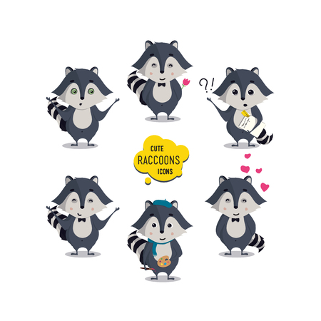 universal love: Universal cute raccoons set with family raccoon, standing raccoon, happy, painter, artist, engineer, student, teacher, lover, amorous, in love, surprised, sad. Vector illustration for educational applications, web icons