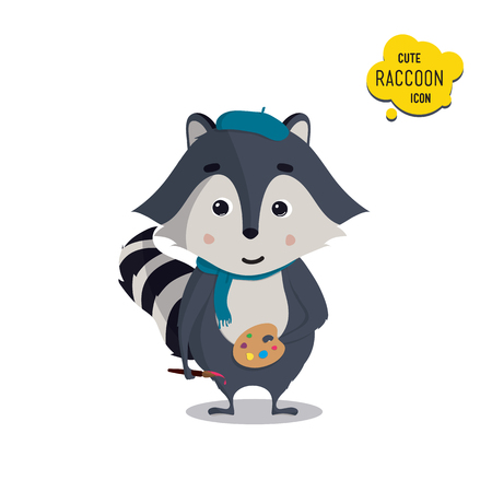 raccoons: Universal cute raccoons set with family raccoon, standing raccoon, happy, painter, artist, with cap, brush, paint. Vector illustration for educational applications, web icons