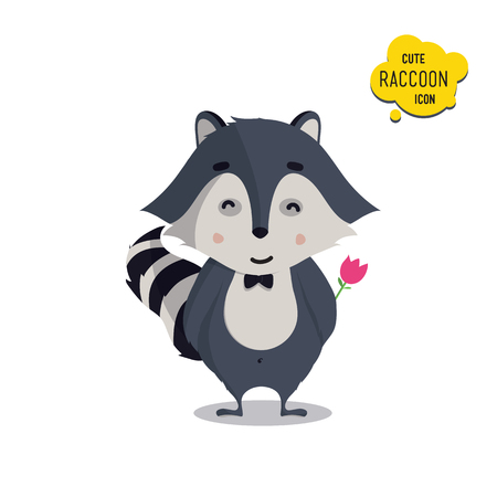 raccoons: Universal cute raccoons set with family raccoon, standing raccoon, happy, lover, amorous, in love, surprised, with flower. Vector illustration for educational applications, web icons