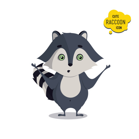 raccoons: Universal cute raccoons set with family raccoon, standing raccoon, surprised, sad. Vector illustration for educational applications, web icons