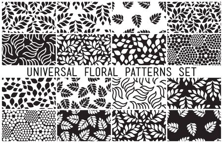 vegetal: Universal floral seamless patterns set. Endless vector texture can be used for wrappingwallpaper, pattern fills, web page background,surface textures. Set of monochrome different vegetal ornaments