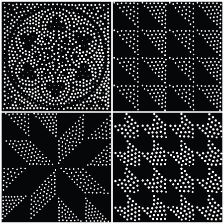 pointillism: Vector abstract geometric seamless pattern. Repeating gradation in black and white. Modern halftone design, pointillism Illustration