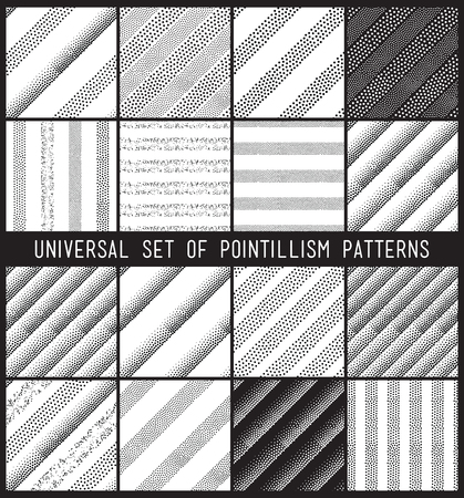 primitivism: Vector geometric seamless pattern set. Repeating striped line abstract circles gradation in black and white. Modern halftone circle design, pointillism