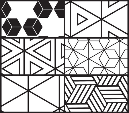 primitivism: Set of universal vector geometric seamless pattern. Repeating abstract background with line, dot, triangle, hexagon in black and white Illustration