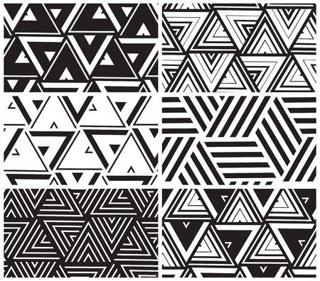 Ensemble de modèle sans couture géométrique de vecteur universel. Répétant l'abstrait avec ligne, point, triangle, hexagone en noir et blanc