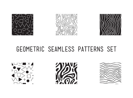 plus size: Universal vector lineal geometric seamless pattern. Simple abstract mathematic figure in minimalist primitive, cute memphis style. Circles, dots, triangles, squares, zigzag Illustration
