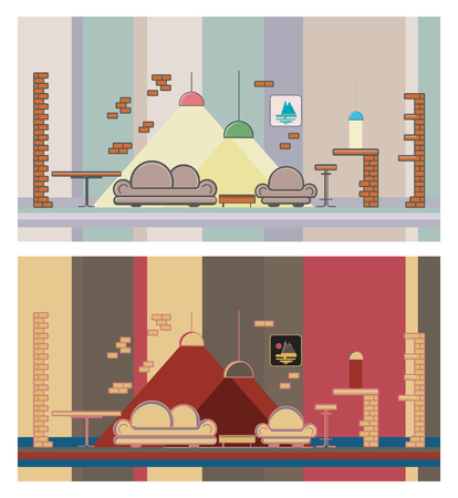 bar chair: Set restaurant colorful interior. Sofa, bar, chair Illustration