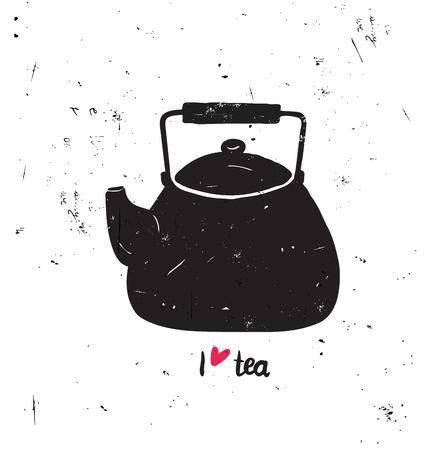 Vektor-Illustration Ich liebe Tee mit Schriftzug. Schwarzer Tee Topf Silhouette mit der Hand geschrieben. Isolierte Objekt auf weißem Hintergrund Grunge