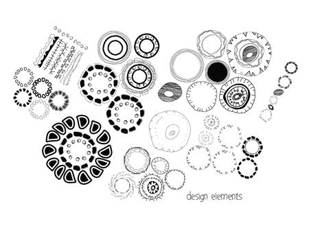 ethnographic: Set of ethnographic design elements doodle background Illustration