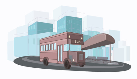 bus station: Vector illustration of landscape with city bus, station, sity
