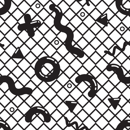 90s: Vector seamless pattern in black and white. Universal repeating geometric abstract figure in pointillism, memphis, 80s, 90s style. Wallpaper, wrapping paper, interior, clothes Illustration