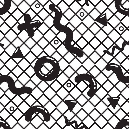 90s: Vector seamless pattern in black and white. Universal repeating geometric abstract figure in pointillism, memphis, 80s, 90s style. Wallpaper, wrapping paper, interior, clothes Stock Photo