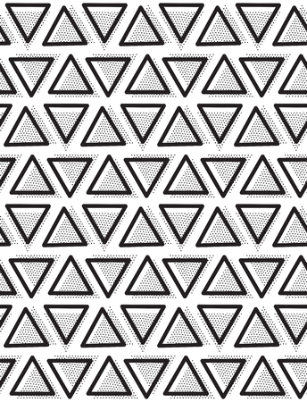 pointillism: geometric seamless pattern. Repeating abstract triangle in black and white dots. Modern pointillism design