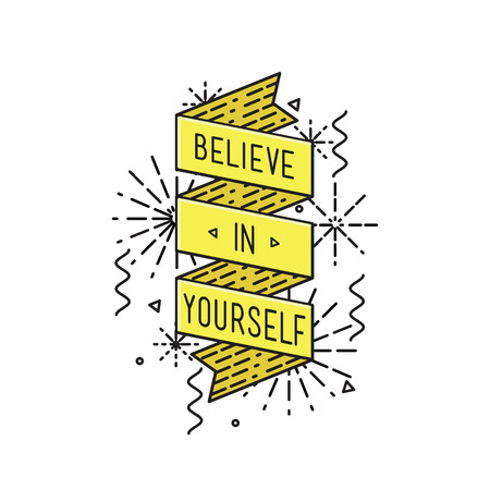 Belive in yourself Inspirational vector illustration, motivational quotes typographic poster design in flat style, thin line icons for frame, greeting card, e-mail newsletters, web banners, flat poster Illustration