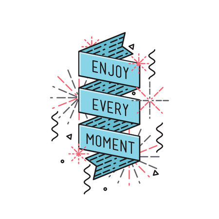 Enjoy every moment Inspirational vector illustration, motivational quotes typographic poster design in flat style, thin line icons for frame, greeting card, e-mail newsletters, web banners, flat poster