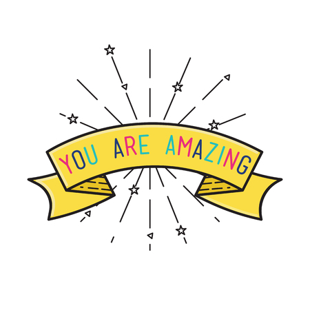 amasing: You are amasing Inspirational vector illustration, motivational quotes typographic poster design in flat style, thin line icons for frame, greeting card, e-mail newsletters, web banners, flat poster