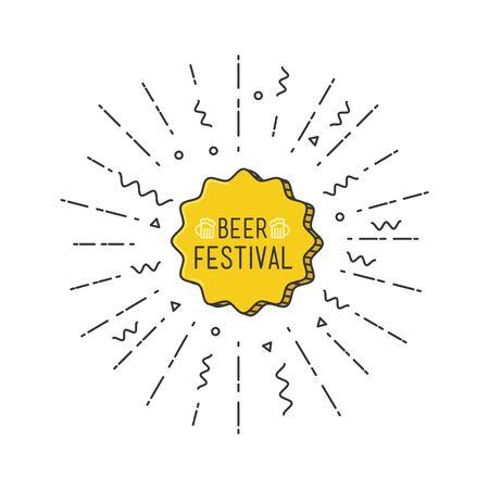beer festival: Beer festival shining banner, colorful background in flat style. Universal simple modern sale background template. Geometric design. Vector illustration Illustration