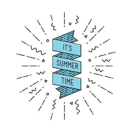 flayers: It is summer time. Inspirational vector illustration, motivational quotes typographic poster design in flat style, thin line icons for frame, greeting card, e-mail newsletters, web banners, flat