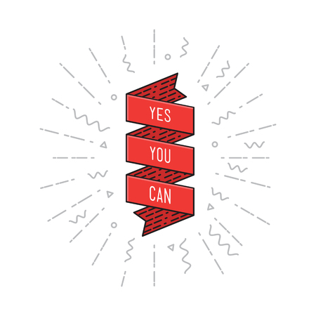 can yes you can: Yes you can. Inspirational vector illustration, motivational quotes typographic poster design in flat style, thin line icons for frame, greeting card, e-mail newsletters, web banners, flat poster