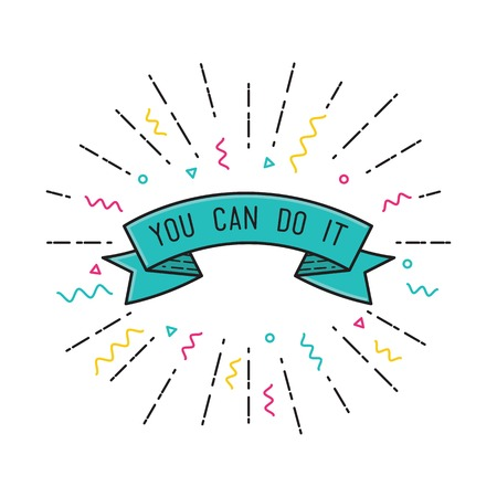 flayers: You can do it. Color inspirational vector illustration, motivational quotes typographic poster design in flat style, thin line icons for frame, greeting card, e-mail newsletters, web banners, flat