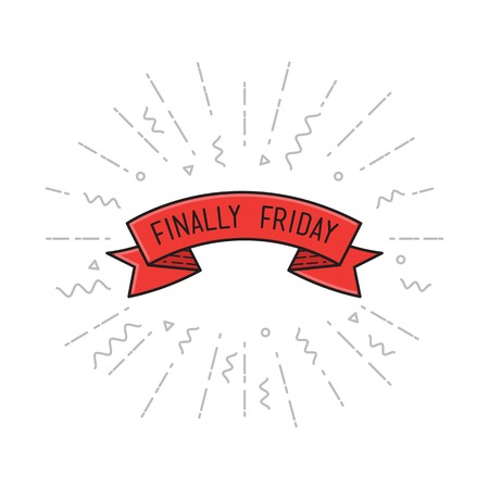 finally: Black friday. Finally friday. Vector illustration, motivational quotes typographic poster design in flat style, thin line icons for frame, greeting card, e-mail newsletters, web banners, flat poster Illustration