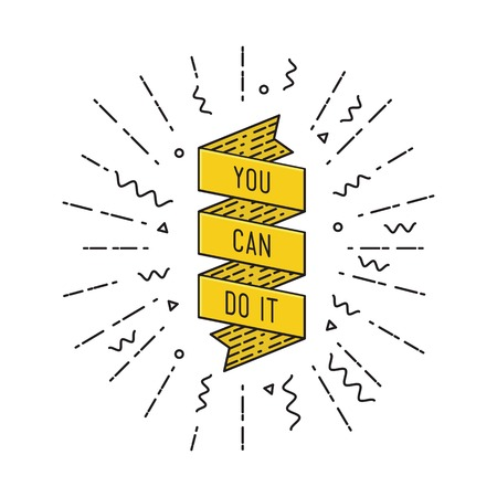flayers: You can do it. Inspirational vector illustration, motivational quotes typographic poster design in flat style, thin line icons for frame, greeting card, e-mail newsletters, web banners, flat poster Illustration
