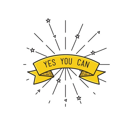 yes you can: yes you can. Inspirational vector illustration, motivational quotes typographic poster design in flat style, thin line icons for frame, greeting card, e-mail newsletters, web banners, flat poster