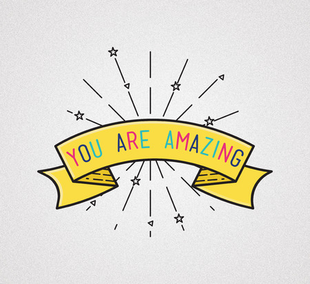 amasing: You are amasing Inspirational illustration, motivational quotes typographic poster design in flat style, thin line icons for frame, greeting card, e-mail newsletters, web banners, flat poster Stock Photo