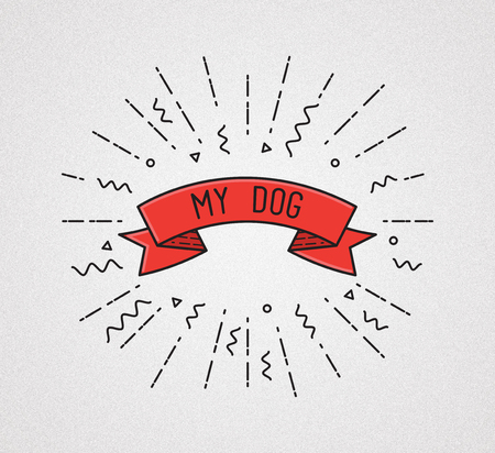 dog walker: My dog. Inspirational illustration, motivational quotes typographic poster design in flat style, thin line icons for icon, leash, walker, sitting, training, pet, business Stock Photo