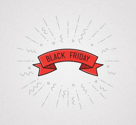 finally: Black friday. Finally friday. Illustration, motivational quote typographic poster design in flat style, thin line icons for frame, greeting card, e-mail newsletters, web banners, flat poster Stock Photo