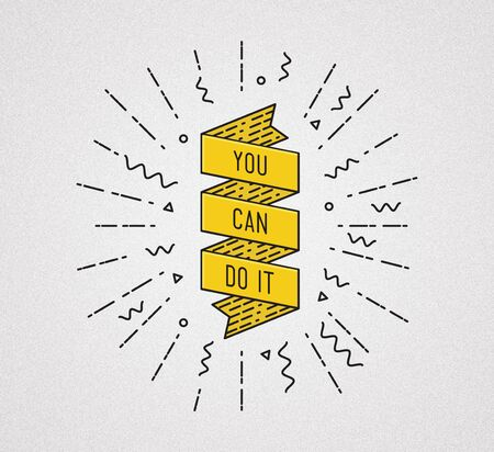 You can do it. Inspirational illustration, motivational quote typographic poster design in flat style, thin line icons for frame, greeting card, e-mail newsletters, web banners, flat poster Stock Photo