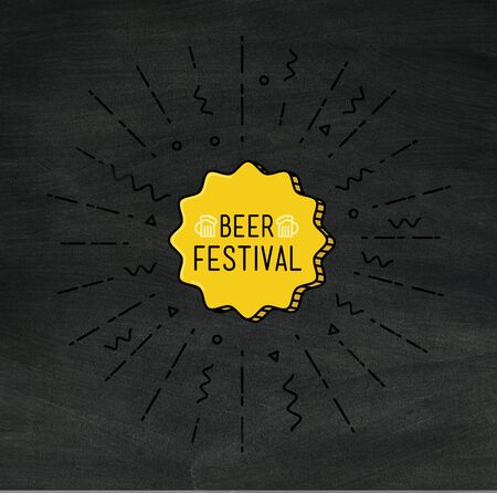 beer festival: Beer festival shining banner, colorful background in flat style. Universal simple modern sale background template. Geometric design illustration