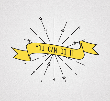 flayers: You can do it. Inspirational illustration, motivational quotes typographic poster design in flat style, thin line icons for frame, greeting card, e-mail newsletters, web banners, flat poster