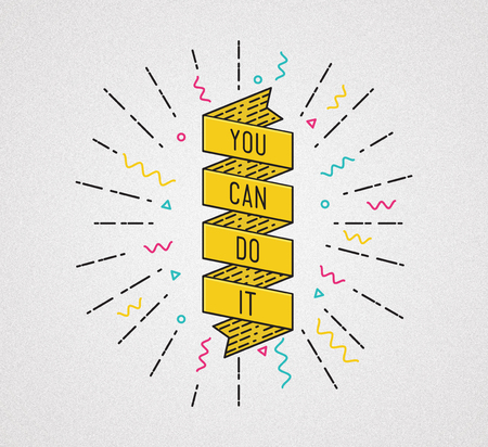 you can do it: You can do it. Inspirational illustration, motivational quotes typographic poster design in flat style, thin line icons for frame, greeting card, e-mail newsletters, web banners, flat poster