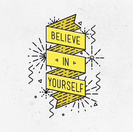 motivated: Belive in yourself Inspirational illustration, motivational quotes typographic poster design in flat style, thin line icons for frame, greeting card, e-mail newsletters, web banners, flat poster Stock Photo