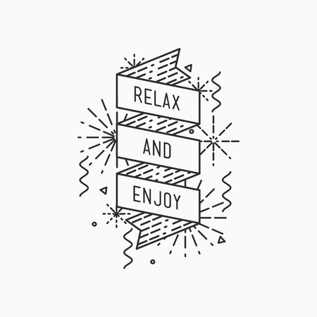 flayers: Relax and enjoy summer. Inspirational vector illustration, motivational quotes typographic poster design in flat style, thin line icons for frame, e-mail newsletters, web banners, flat