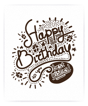 '20s': Festive Happy Birthday. Modern Retro popular design style. Vintage style 20s, 60s. Monochrome brown posters, stamps, signs. Script, sans serif fonts typography