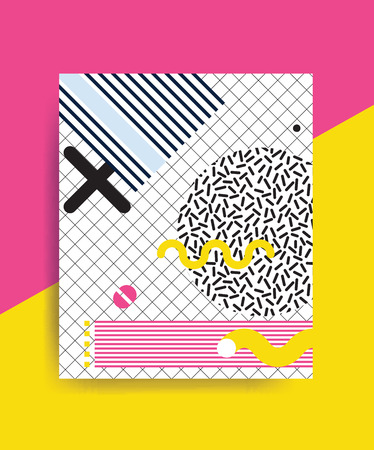 erratic: Colorful trend Neo Memphis geometric pattern juxtaposed with bright bold blocks of color zig zags, squiggles, erratic images. Design background elements composition. Magazine, leaflet, billboard