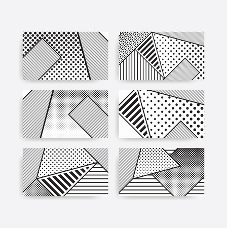erratic: black and white pop art geometric pattern set juxtaposed with bright bold blocks of color squiggles, erratic images. Matterial design background elements composition. Futuristic, prospectus, poster, magazine, broadsheet, leaflet, book, billboard Illustration
