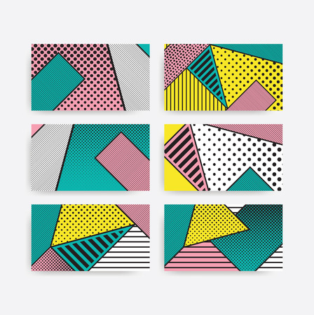 erratic: Colorful trend pop art geometric pattern set juxtaposed with bright bold blocks of color squiggles, erratic images. Matterial design background elements composition. Futuristic, prospectus, poster, magazine, broadsheet, leaflet, book, billboard
