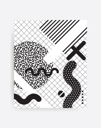 erratic: black and white Neo Memphis geometric pattern juxtaposed with bright bold blocks of color zig zags, squiggles, erratic images. Design background elements composition. Magazine, leaflet, billboard