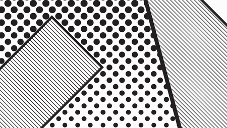 erratic: black and white pop art geometric pattern juxtaposed with bright bold blocks of squiggles, erratic images. Matterial design background elements composition. Futuristic, prospectus, poster, magazine, broadsheet, leaflet, book, billboard Illustration