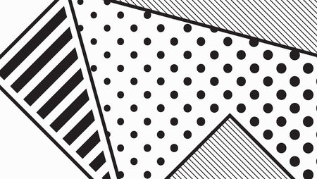broadsheet: black and white pop art geometric pattern juxtaposed with bright bold blocks of squiggles, erratic images. Matterial design background elements composition. Futuristic, prospectus, poster, magazine, broadsheet, leaflet, book, billboard Illustration