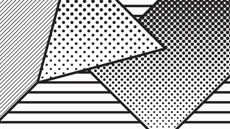 squiggles: black and white pop art geometric pattern juxtaposed with bright bold blocks of squiggles, erratic images. Matterial design background elements composition. Futuristic, prospectus, poster, magazine, broadsheet, leaflet, book, billboard Illustration