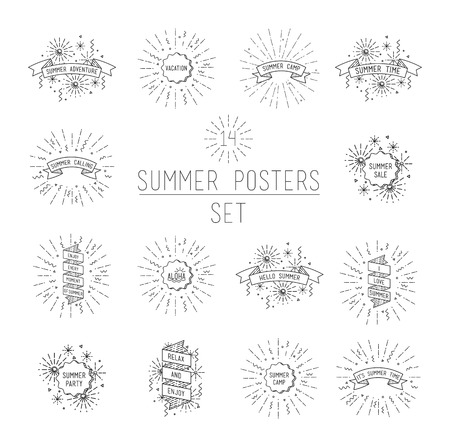 Summer flyer set. Universal linear flat poster with business short phrase for big sale, party, camp, relax. Greeting card, email newsletters, web banners