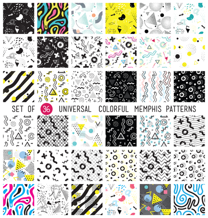 Geometric memphis seamless isolated patterns in set for fashion and wallpaper. Universal colorful decorative fun background