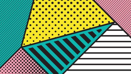 constructivism: black and white pop art geometric pattern juxtaposed with bright bold blocks of squiggles. Material design background. Futuristic, prospectus, poster, magazine, broadsheet, leaflet, book, billboard